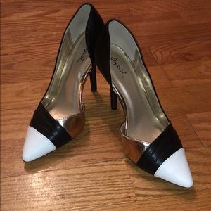 Colorblock Black & White Heels
